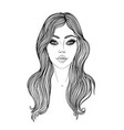 young caucasian woman with long hair fashion vector image
