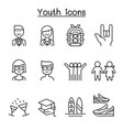 youth icon set in thin line style vector image vector image