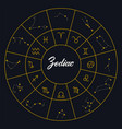 zodiac constellations and zodiac signs in a circle vector image vector image
