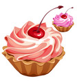 Delicious pink cupcake with cherry desert vector image