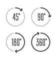 angle degrees circle icons vector image vector image