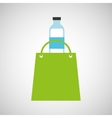 bag shopping water bottle icon vector image