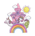 beautiful fairytale castle with rainbow and vector image vector image