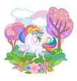 beautiful unicorn with rainbow vector image vector image