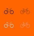 bicycle black and white set icon vector image