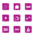 bribery icons set grunge style vector image vector image