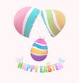Broken egg with Easter egg inside vector image
