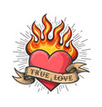burning heart old school tattoo vector image vector image