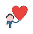 businessman character holding heart color and vector image vector image
