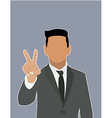 Businessman Holds two fingers black web icon vector image