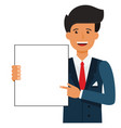 businessman showing blank document cartoon flat vector image