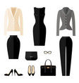 businesswoman clothes icons in flat style vector image