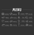 cafe menu with food and drinks on chalkboard vector image vector image