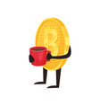 cartoon of bitcoin with arms and legs vector image