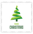christmas card with frame and tree vector image vector image
