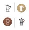 Classic coffee maker flat design linear and color vector image vector image