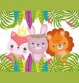 cute animals little cartoon lion rabbit and fox vector image