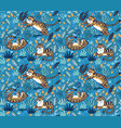 cute tigers playing together seamless pattern vector image vector image