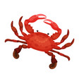 detailed flat icon of bright red crab vector image