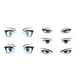 Different anime eyes vector image