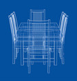 dinner table with chairs rendering of 3d vector image vector image