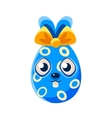 Easter Egg Shaped Blue Easter Bunny With Bow vector image vector image