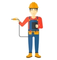 Electrician with electrical equipment vector image vector image