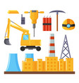 factory buildings vehicle and equipment for mines vector image vector image