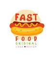 fast food logo original design badge with hot dog vector image vector image