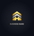 h initial realty building gold logo vector image