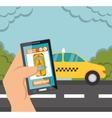 hand hold smartphone with app taxi vector image