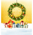holiday background with a colorful gift boxes and vector image vector image
