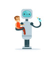 housemaid baby sitter robot with child vector image vector image