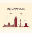 indianapolis skyline indiana usa line city vector image vector image