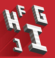isometric letters f h i g j drawn with stripes and vector image
