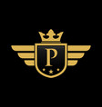letter p shield wing vector image vector image