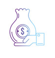 line businessman with bag cash money in the hand vector image vector image