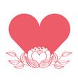 love heart flowers decoration romantic vector image