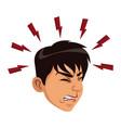 man sick headache migraine healthcare concept vector image