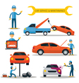 Mechanic and Car Maintenance Service vector image vector image