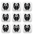 Owl cartoon character buttons set