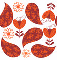 paisley seamless pattern in red and orange colors vector image vector image