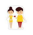 paper sticker on white background Man and woman vector image vector image