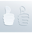 paper thumbs up vector image vector image