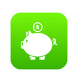pig money icon green vector image vector image