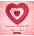 pink background with red valentine heart vector image vector image
