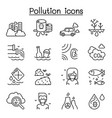 pollution icon set in thin line style vector image vector image