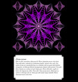 purple mandala on black background text frame vector image vector image