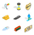 recognition icons set isometric style vector image