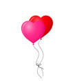 red and pink pair of realistic heart shaped vector image vector image